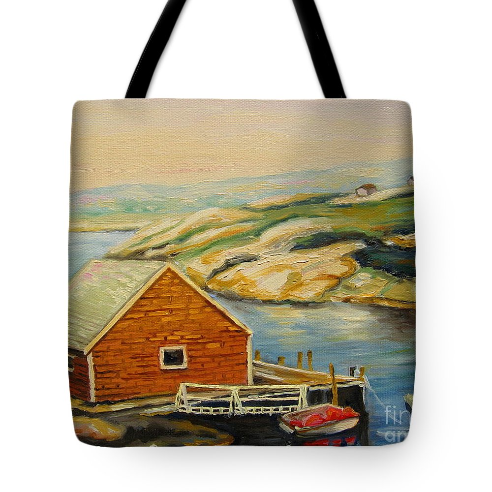 Peggy's Cove Harbor View Tote Bag featuring the painting Peggys Cove Harbor View by Carole Spandau