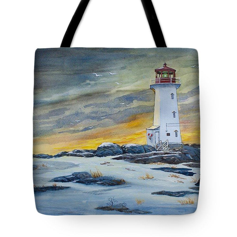 Peggy's Cove Lighthouse Tote Bag featuring the painting Peggy's Cove Lighthouse by Raymond Edmonds