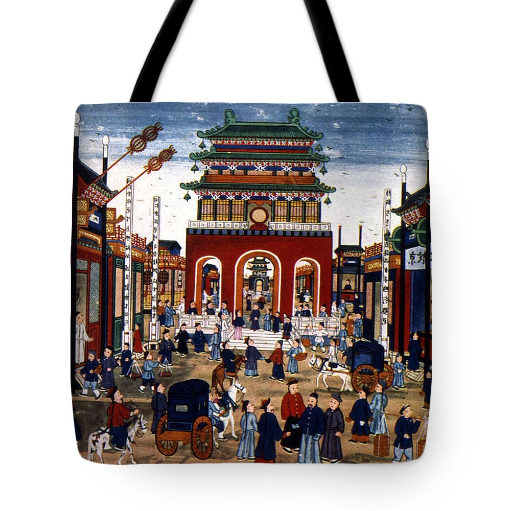 1840s Tote Bag featuring the photograph Peking: Commercial Center by Granger