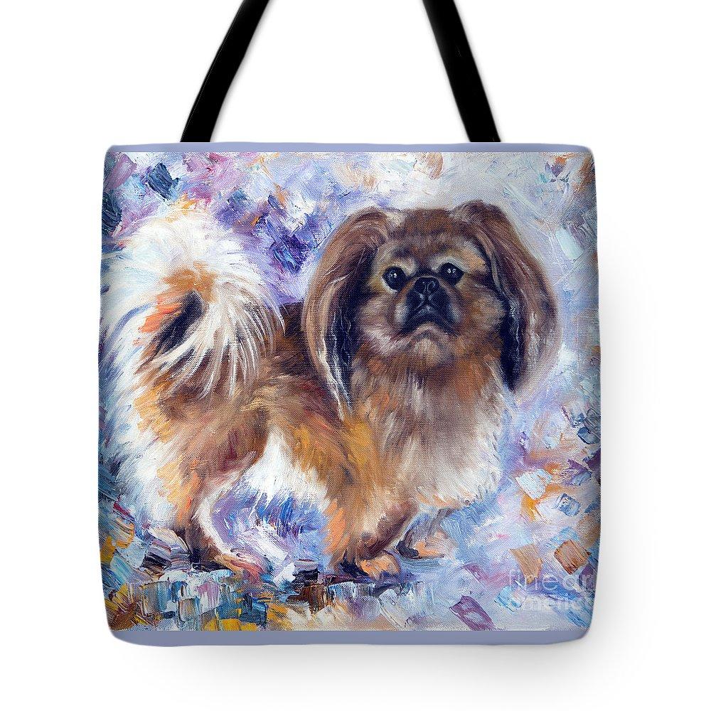 Pekingese Tote Bag featuring the painting Pekingese by Yana Sadykova