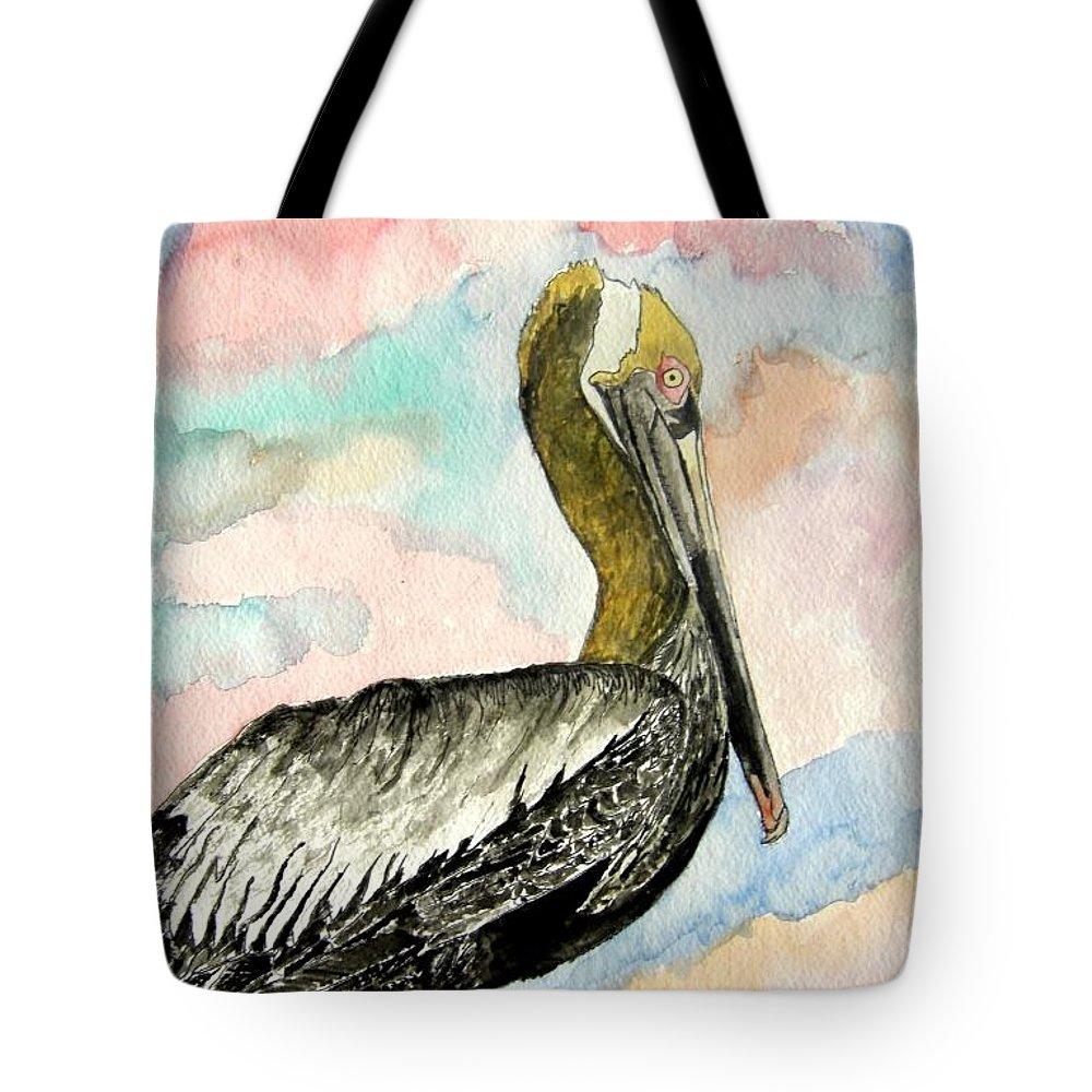 Watercolor Tote Bag featuring the painting Pelican 2 by Derek Mccrea