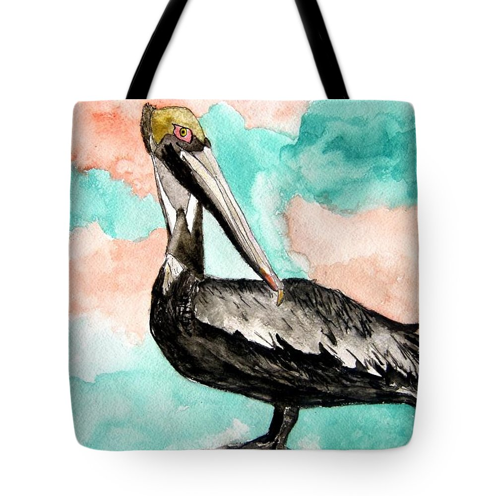 Bird Tote Bag featuring the painting Pelican 3 by Derek Mccrea