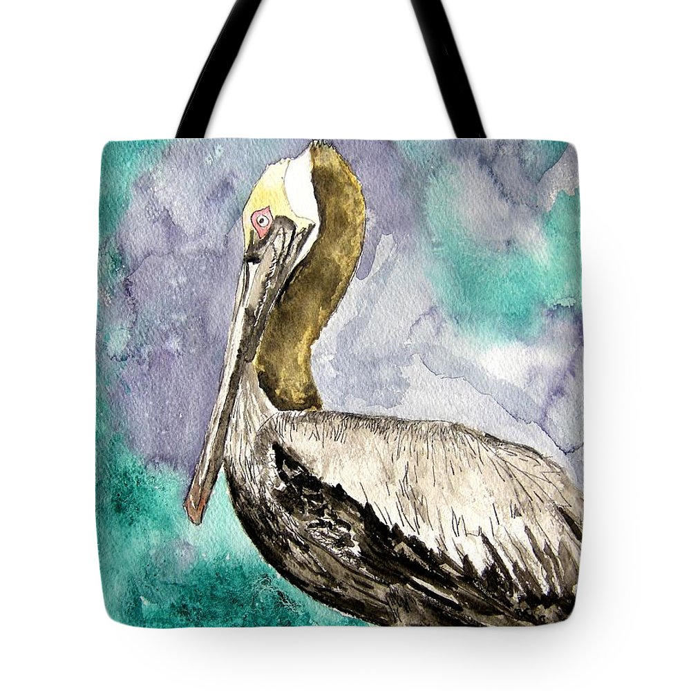 Pelican Tote Bag featuring the painting Pelican by Derek Mccrea