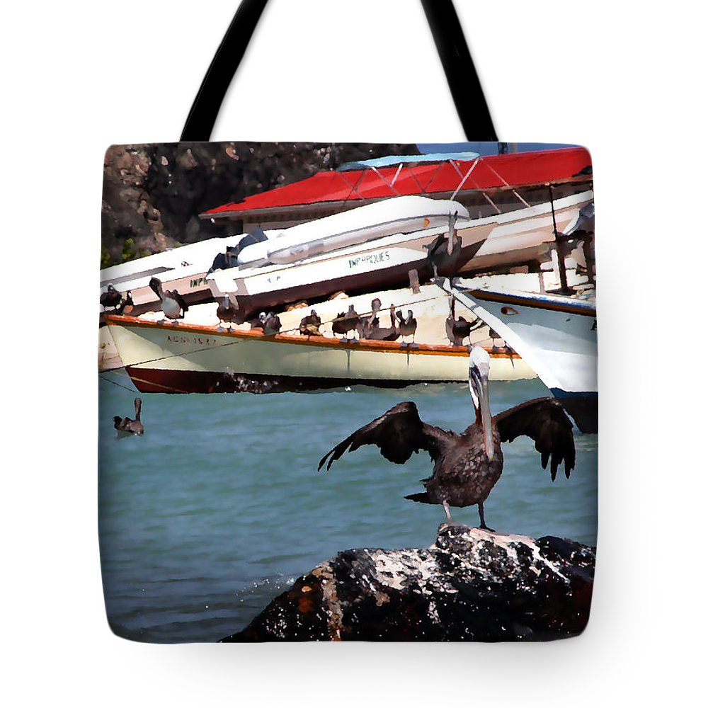 Pelican Tote Bag featuring the photograph Pelican Drying Wings by Bibi Rojas