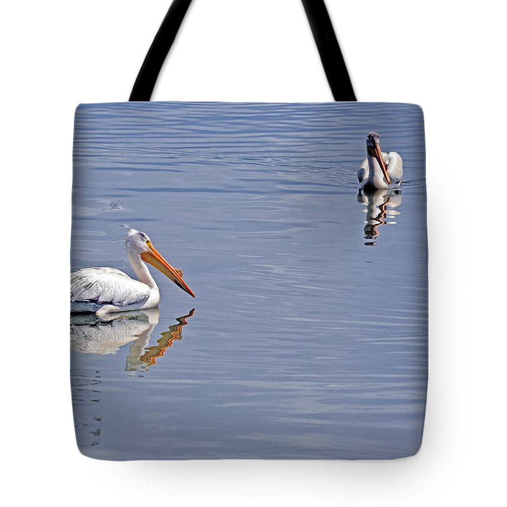 Pelican Tote Bag featuring the photograph Pelican Mates by Terry Anderson