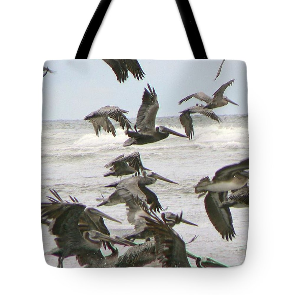 Pelicans Tote Bag featuring the photograph Pelican Migration by Pamela Patch