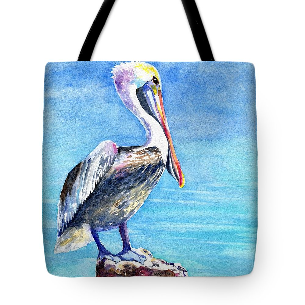 Pelican Tote Bag featuring the painting Pelican On A Post by Carlin Blahnik CarlinArtWatercolor