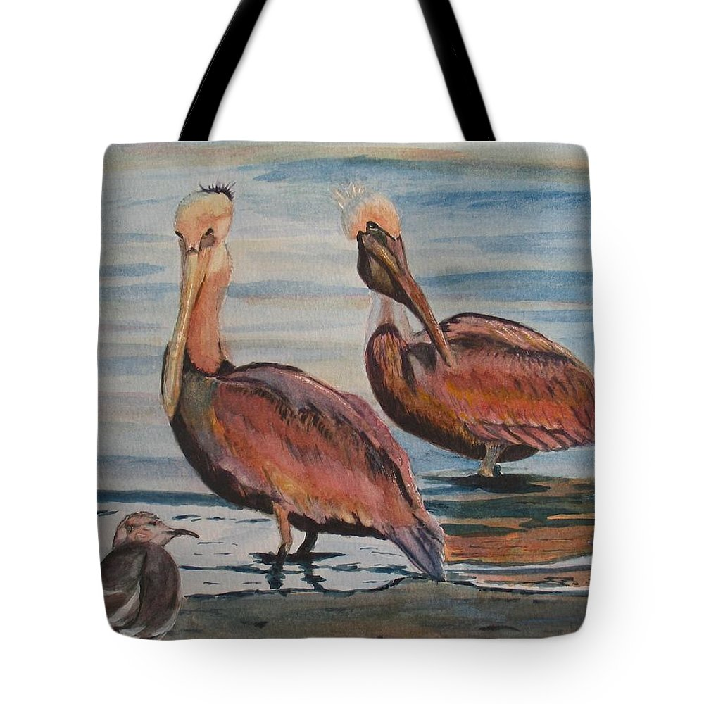 Pelicans Tote Bag featuring the painting Pelican Party by Karen Ilari