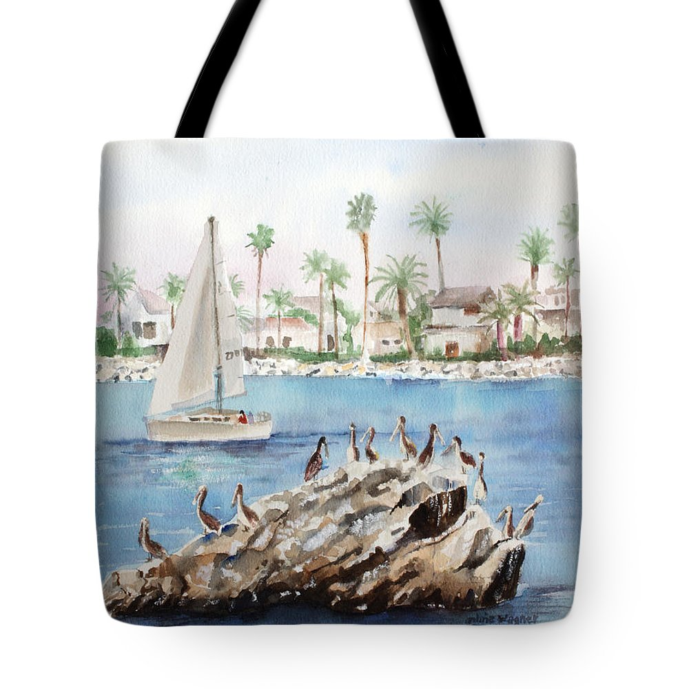 Pelicans Tote Bag featuring the painting Pelican Rock by Arline Wagner