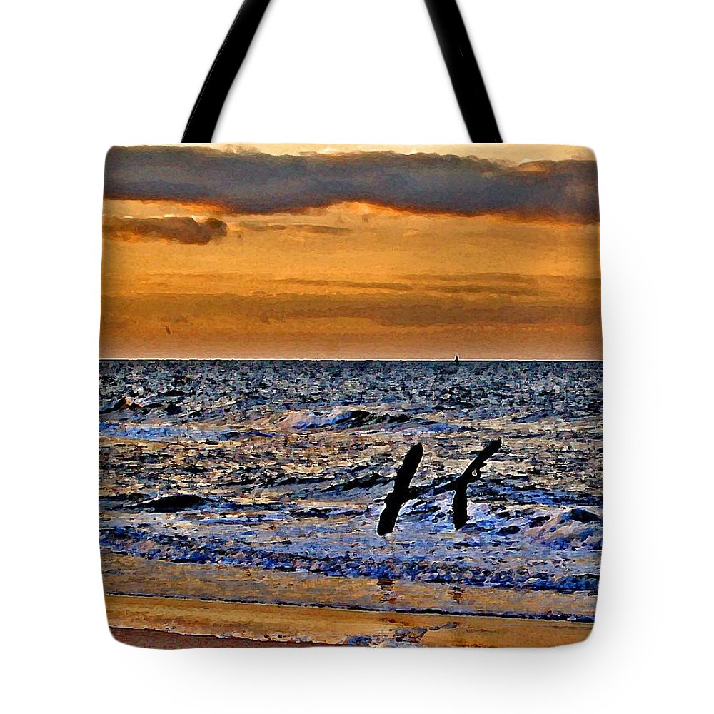 Pelican Tote Bag featuring the painting Pelicans Crusing The Coast by Michael Thomas