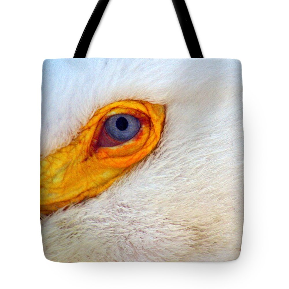 Pelican Tote Bag featuring the photograph Pelican's Eye by Marty Koch