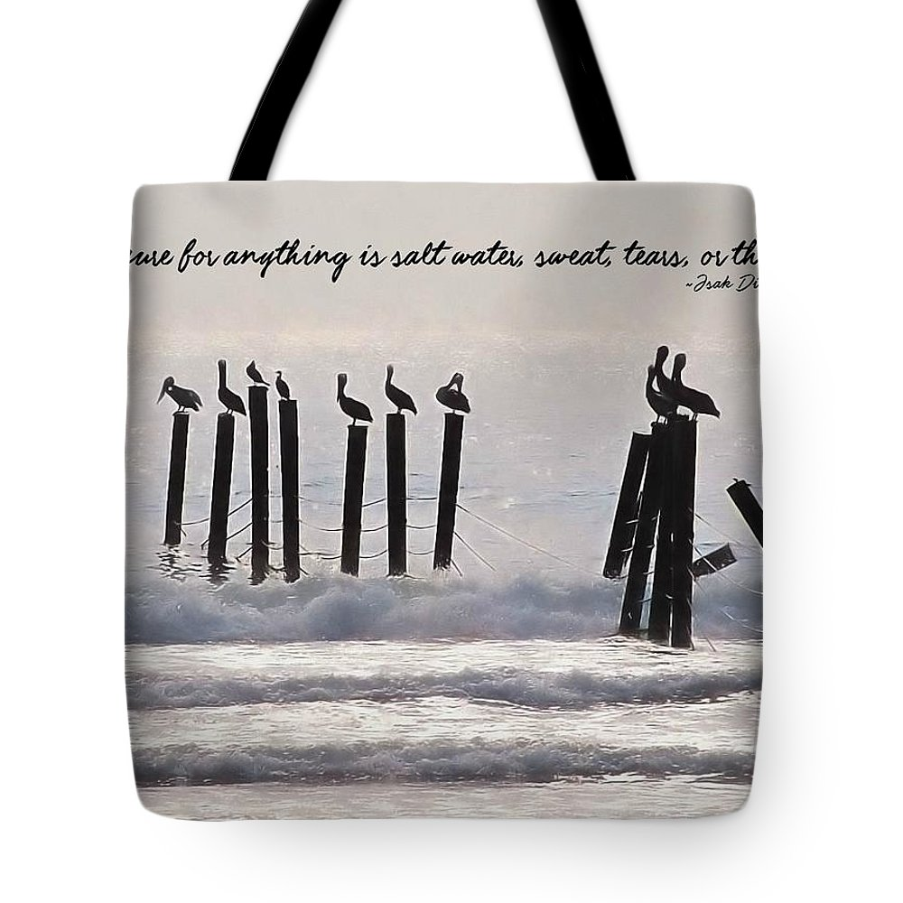 Beach Tote Bag featuring the photograph Pelicans Perched Quote by JAMART Photography
