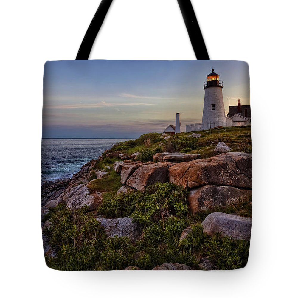 Pemaquid Tote Bag featuring the photograph Pemaquid Light At Dusk by Diana Powell
