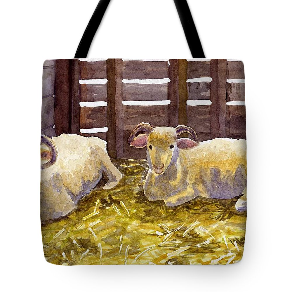Sheep Tote Bag featuring the painting Pen Pals by Sharon E Allen