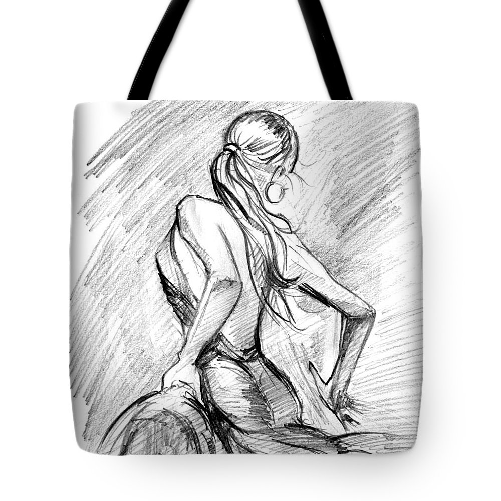 Pencil art girl tote bag