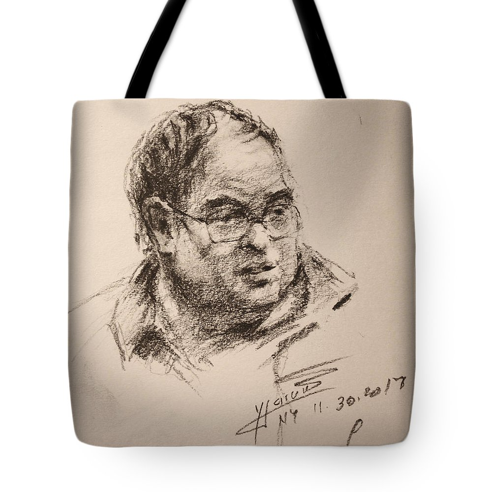 Man Tote Bag featuring the drawing Sketch Man 8 by Ylli Haruni