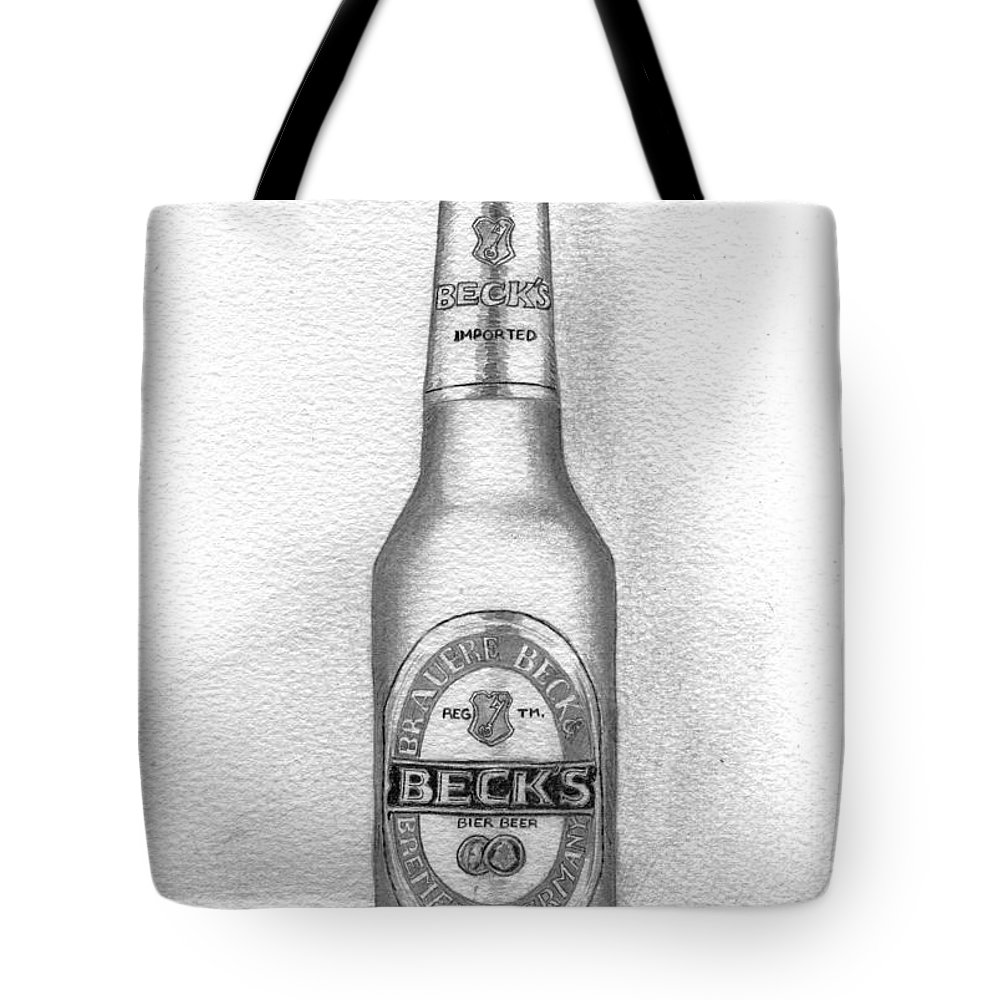 Bottle Tote Bag featuring the drawing Pencil Work For My Art School by Alban Dizdari