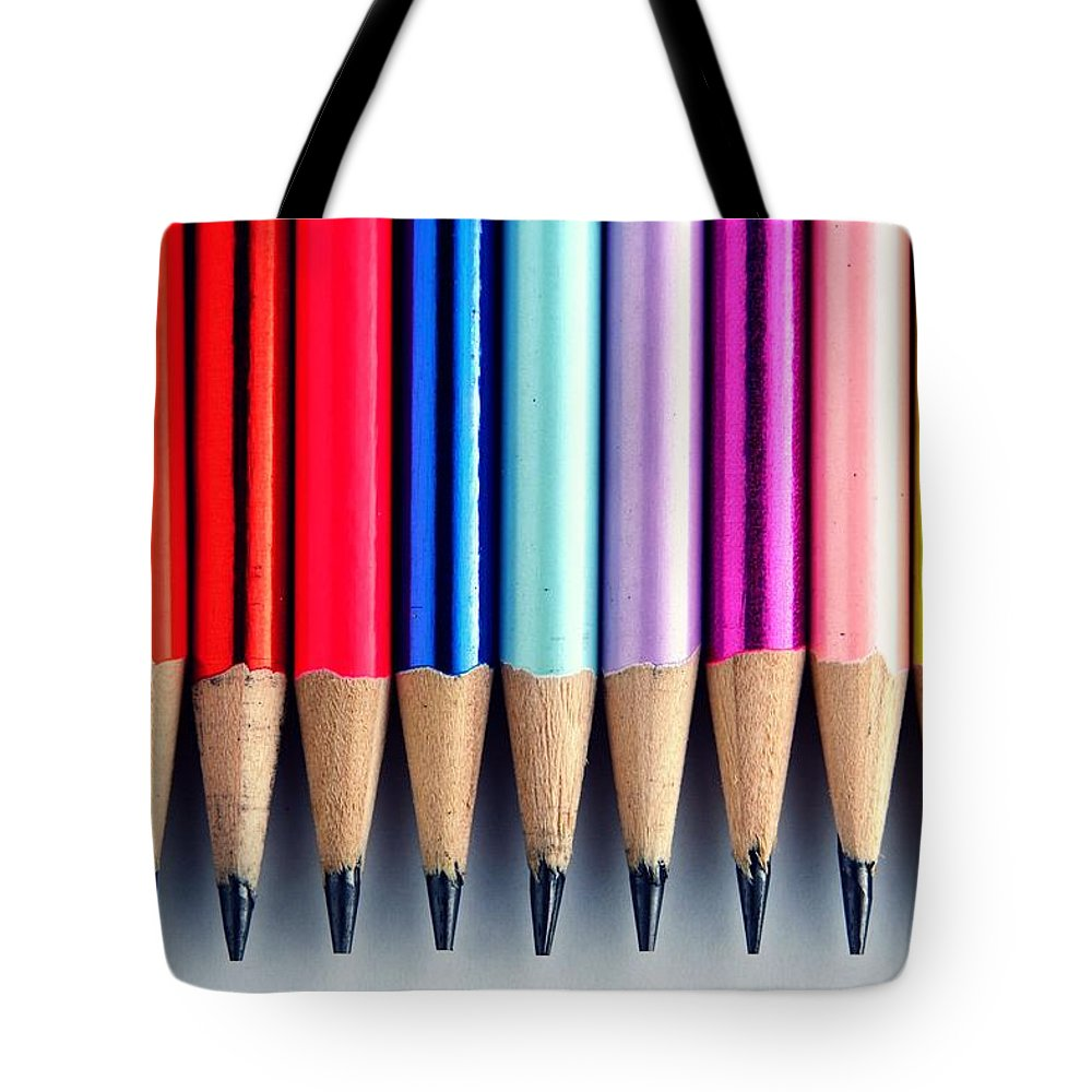 Sharpened Tote Bag featuring the photograph Pencils by Jun Pinzon