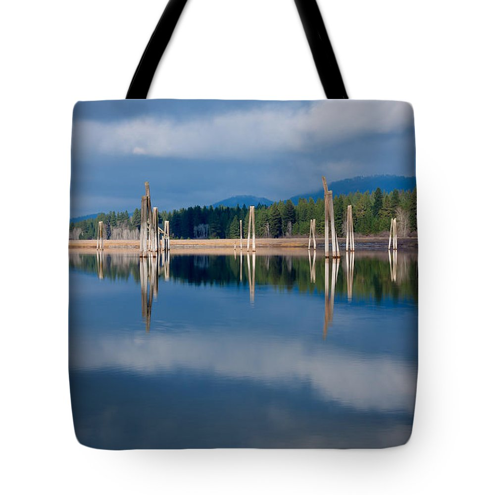 Northeast Washington Tote Bag featuring the photograph Pend Oreille River Pilings by Idaho Scenic Images Linda Lantzy