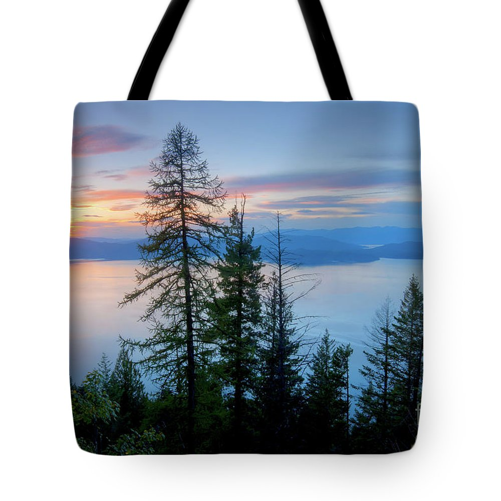 Dusk Tote Bag featuring the photograph Pend Oreille Sunset by Idaho Scenic Images Linda Lantzy