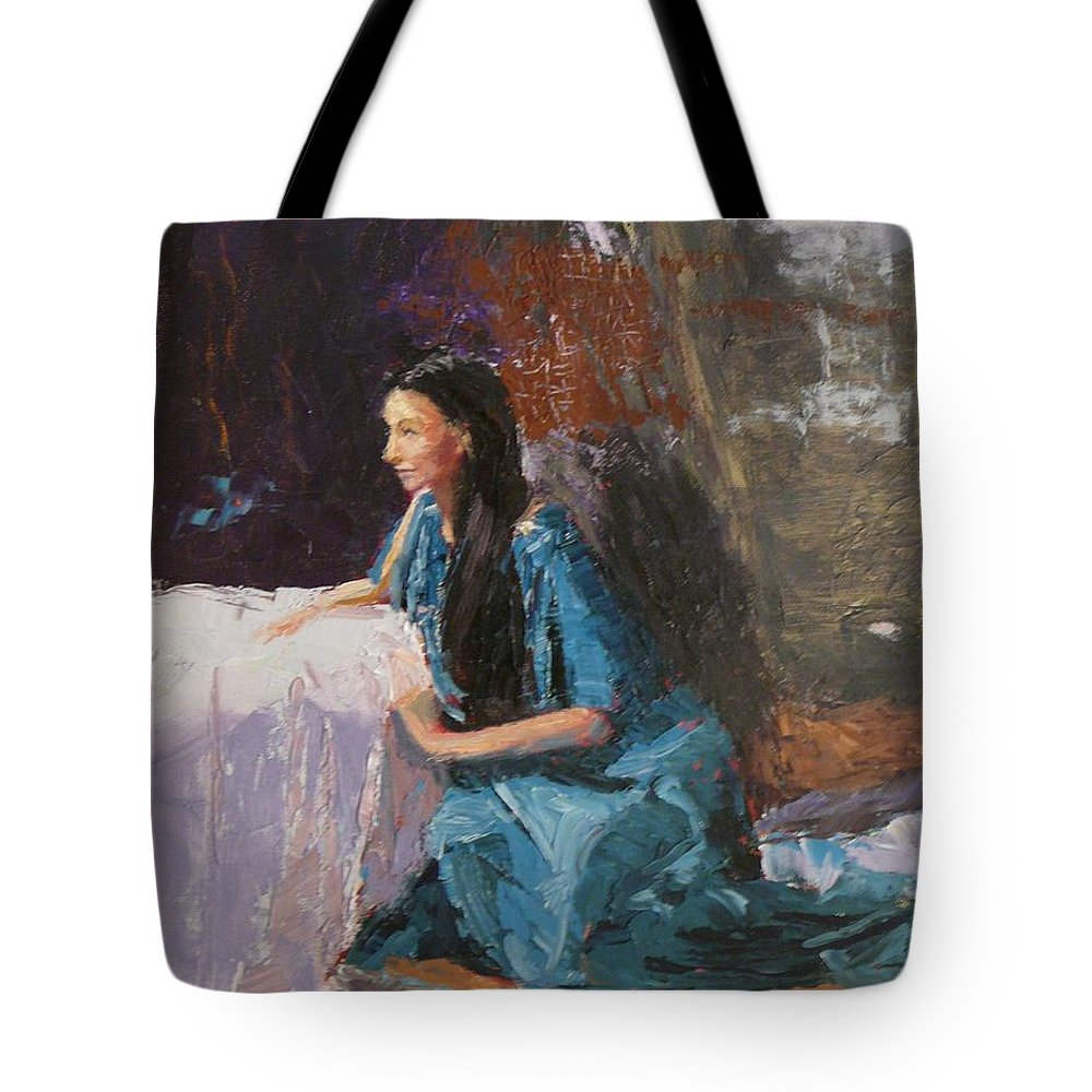 Sitting Woman Tote Bag featuring the painting Penelope by Irena Jablonski