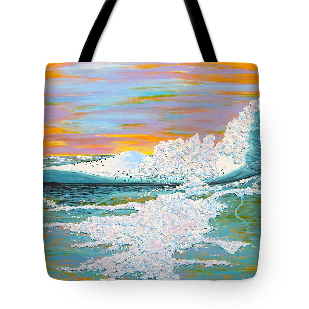 Ice Tote Bag featuring the painting The Last Iceberg by V Boge