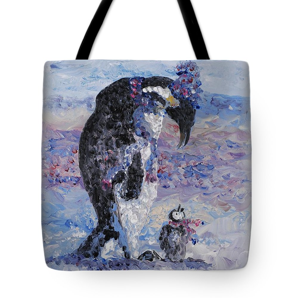 Penguins Winter Snow Blue Purple White Tote Bag featuring the painting Penguin Love by Nadine Rippelmeyer