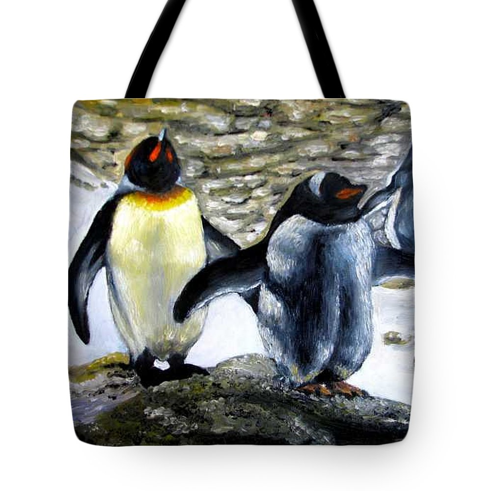 Oil On Canvas Tote Bag featuring the painting Penguines Original Oil Painting by Natalja Picugina