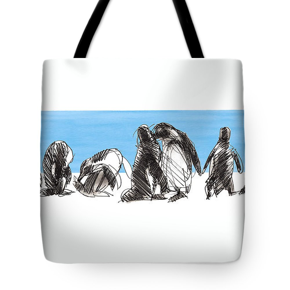 Magellanic Penguins Tote Bag featuring the mixed media Penguins by Judith Kunzle