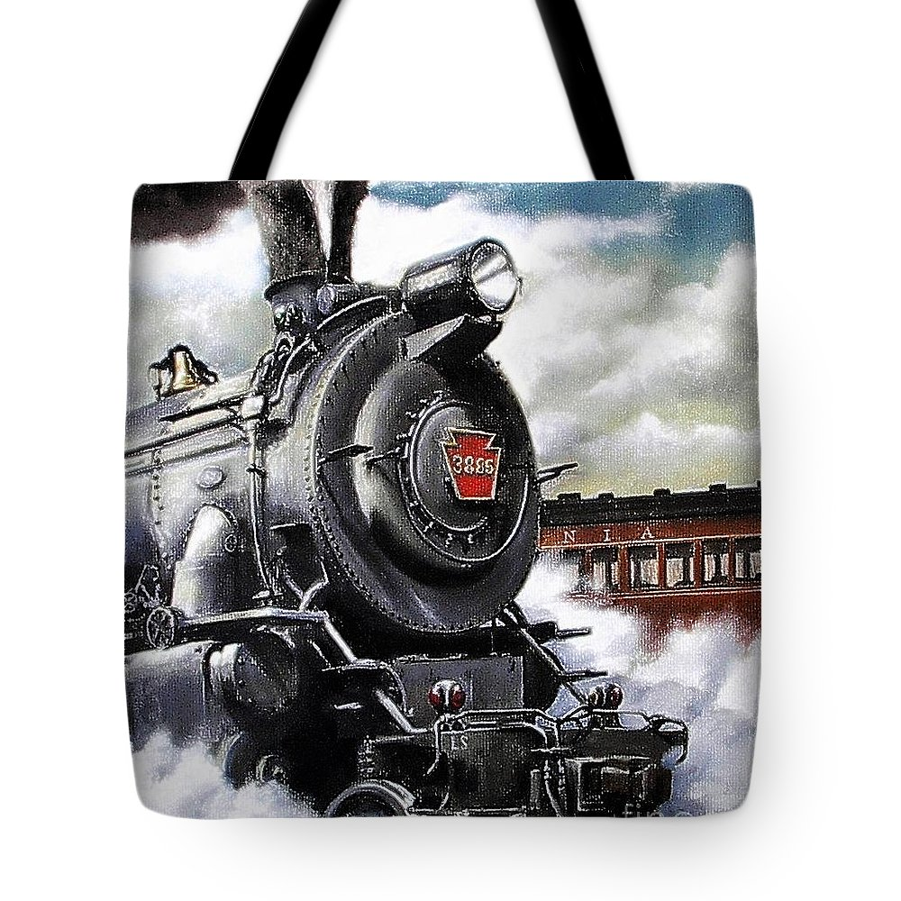 Pennsylvania Railroad Train Painting Railroad Maryland And Pennsylvania Autumn Fall Colors Steam Engine Tote Bag featuring the painting Pennsy #3885 by David Mittner