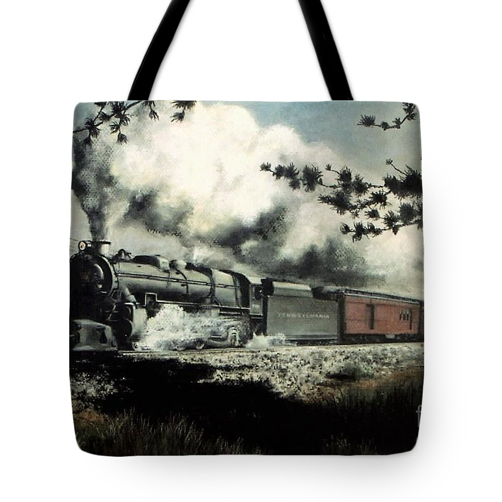 Pennsylvania Railroad Prr Train Painting Railroad Maryland And Pennsylvania Autumn Fall Colors Steam Engine Tote Bag featuring the pastel Pennsy in the Pines by David Mittner