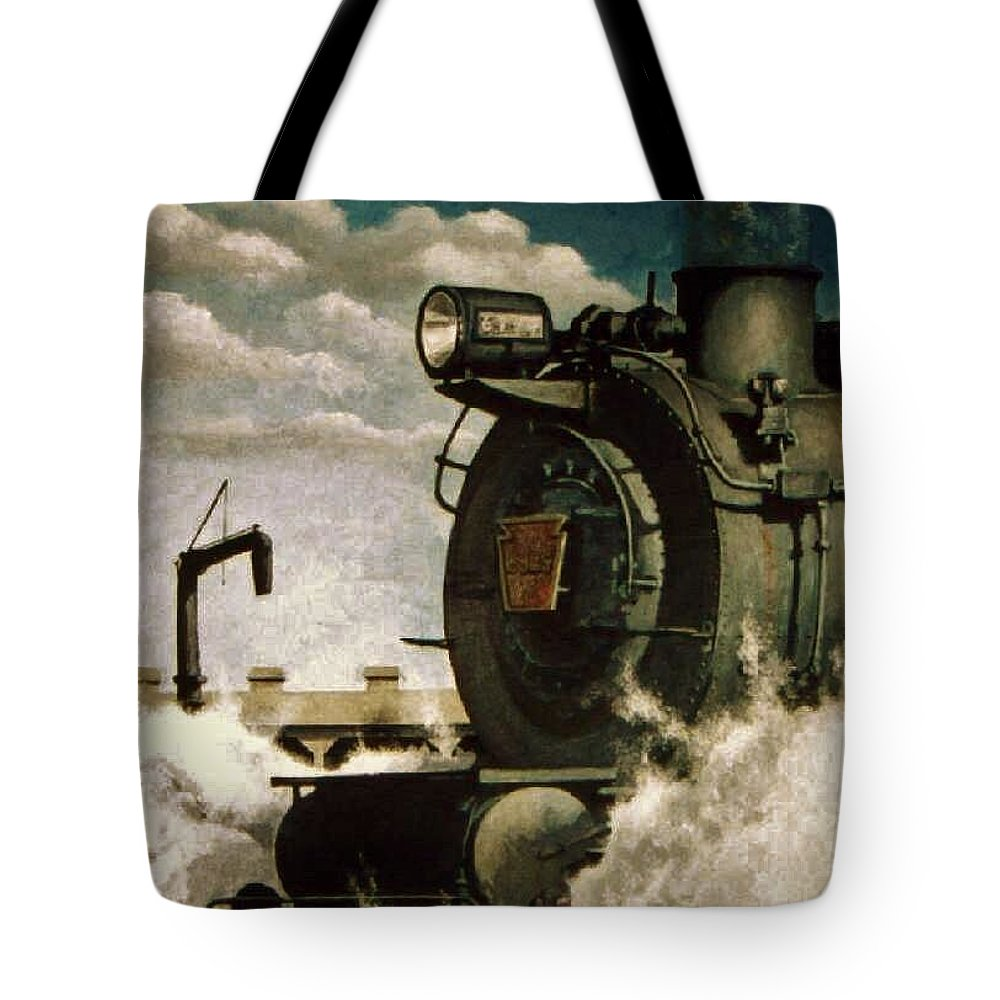 Pennsylvania Railroad Prr Train Painting Railroad Maryland And Pennsylvania Autumn Fall Colors Steam Engine Tote Bag featuring the painting Pennsy M1 by David Mittner