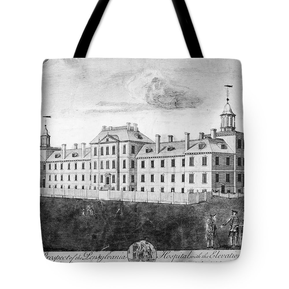 1755 Tote Bag featuring the photograph Pennsylvania Hospital, 1755 by Granger