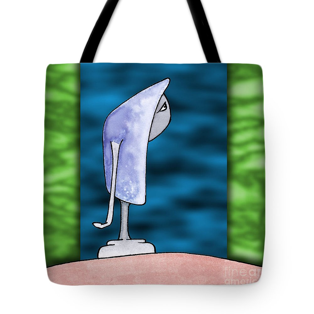 Art Tote Bag featuring the digital art Pensive by Uncle J's Monsters