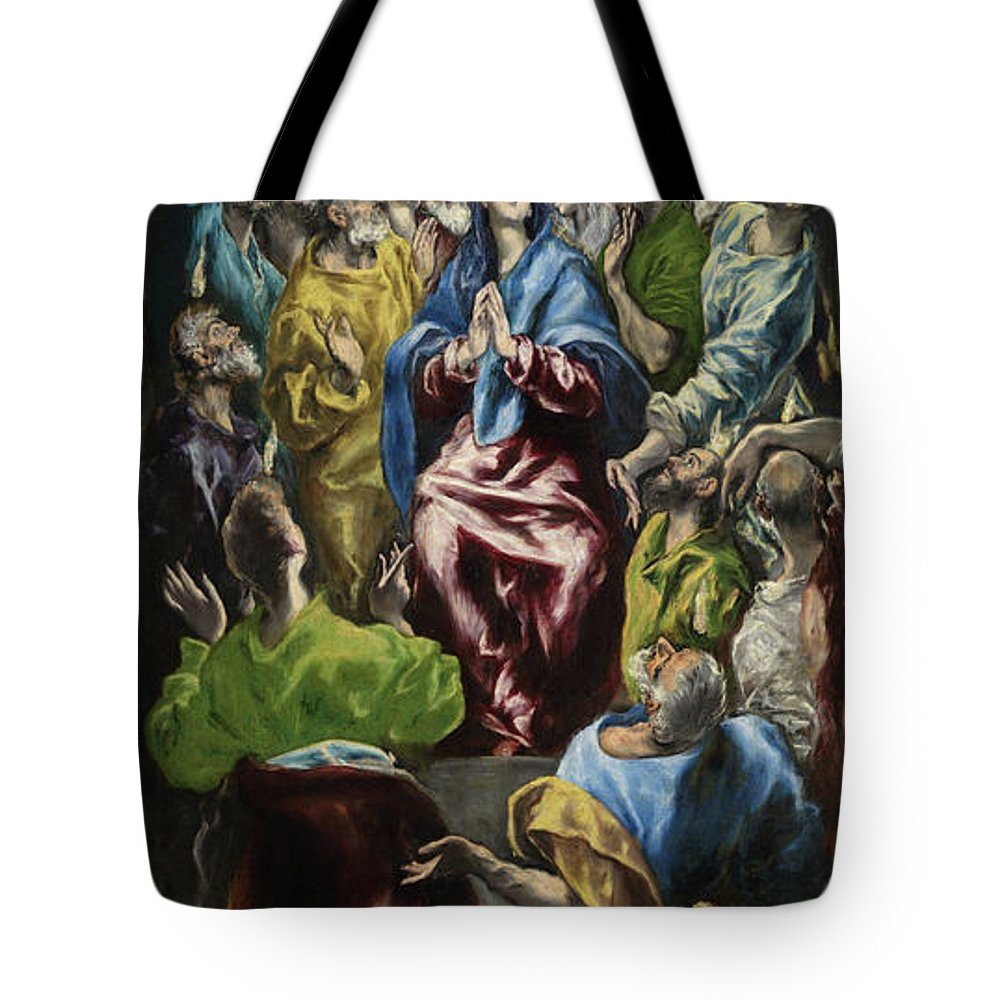 Catholic Tote Bag featuring the painting Pentecost by El Greco