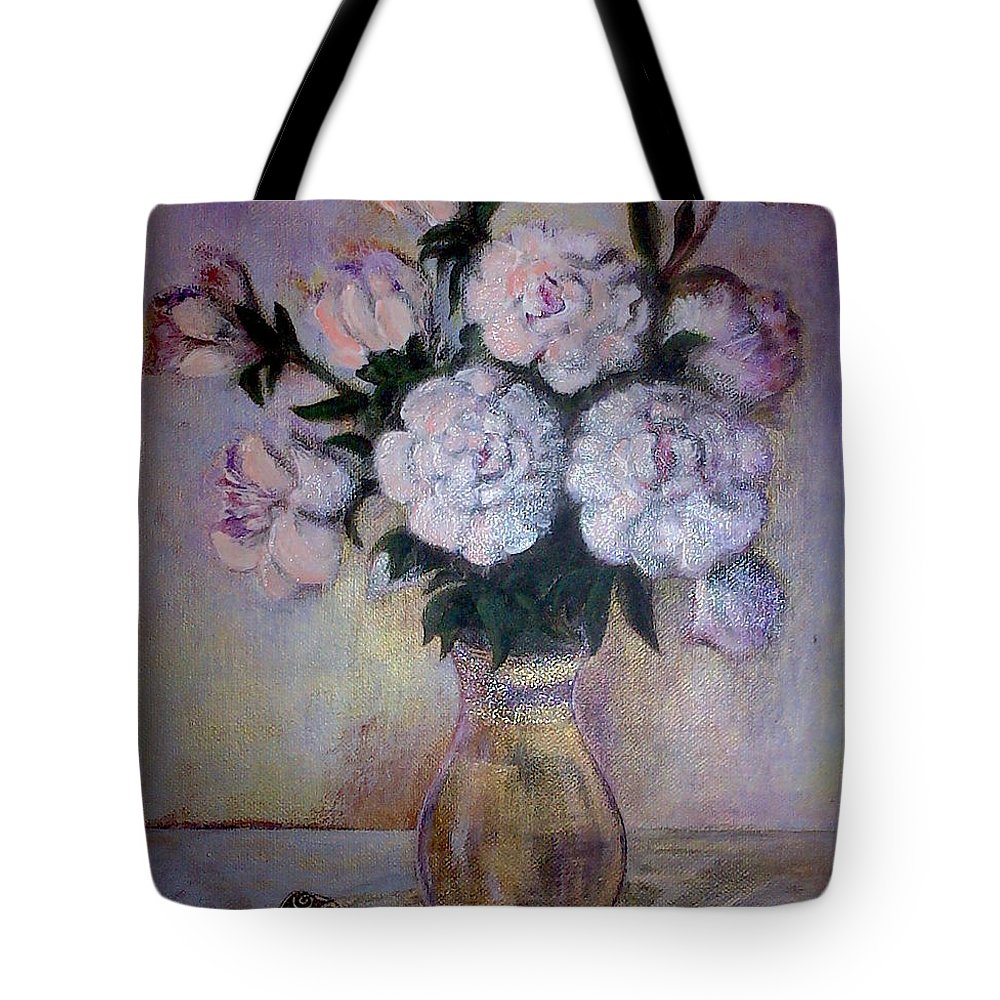 Tote Bag featuring the painting Peonies And Rings by Vi Sarancha