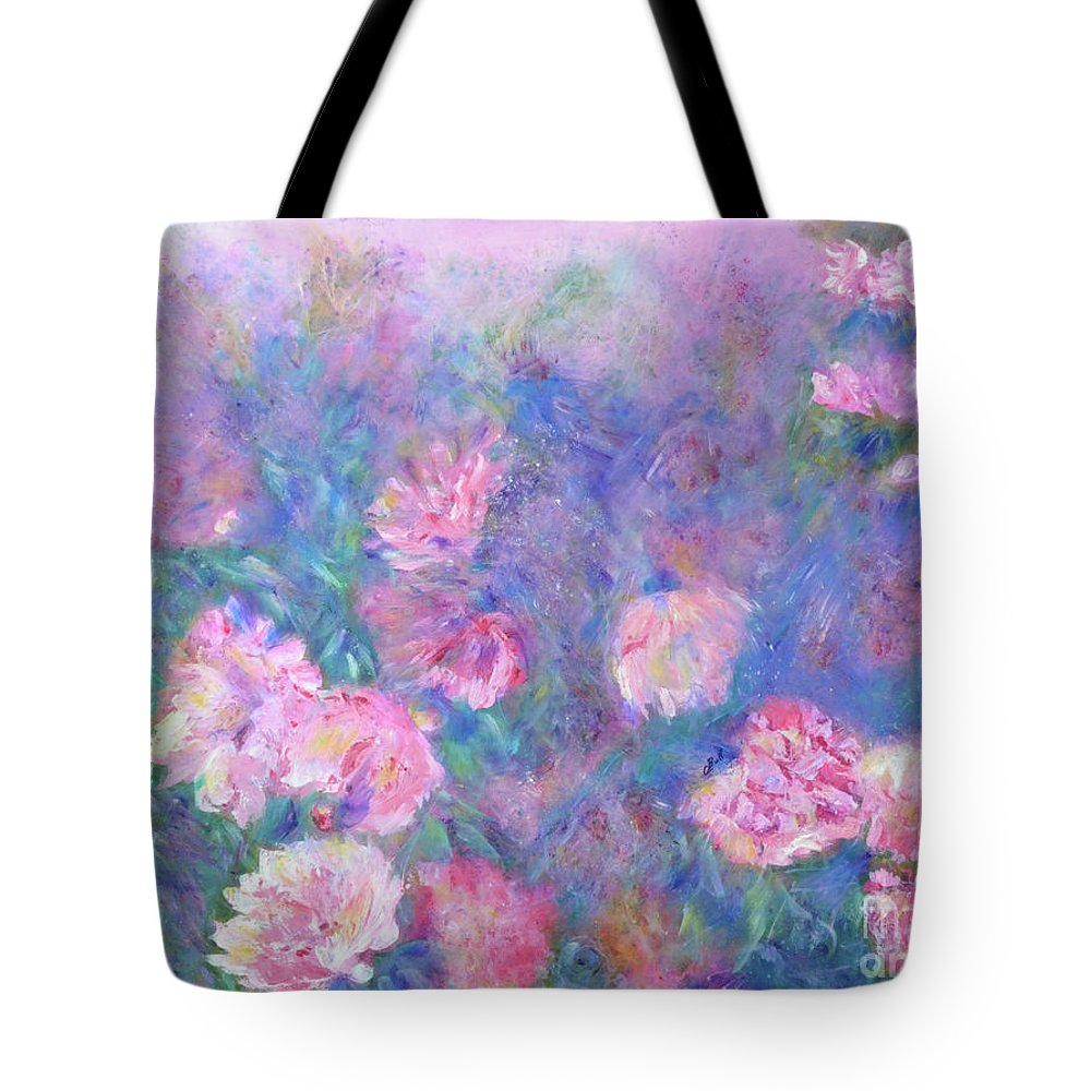 Peonies Tote Bag featuring the painting Peonies by Claire Bull