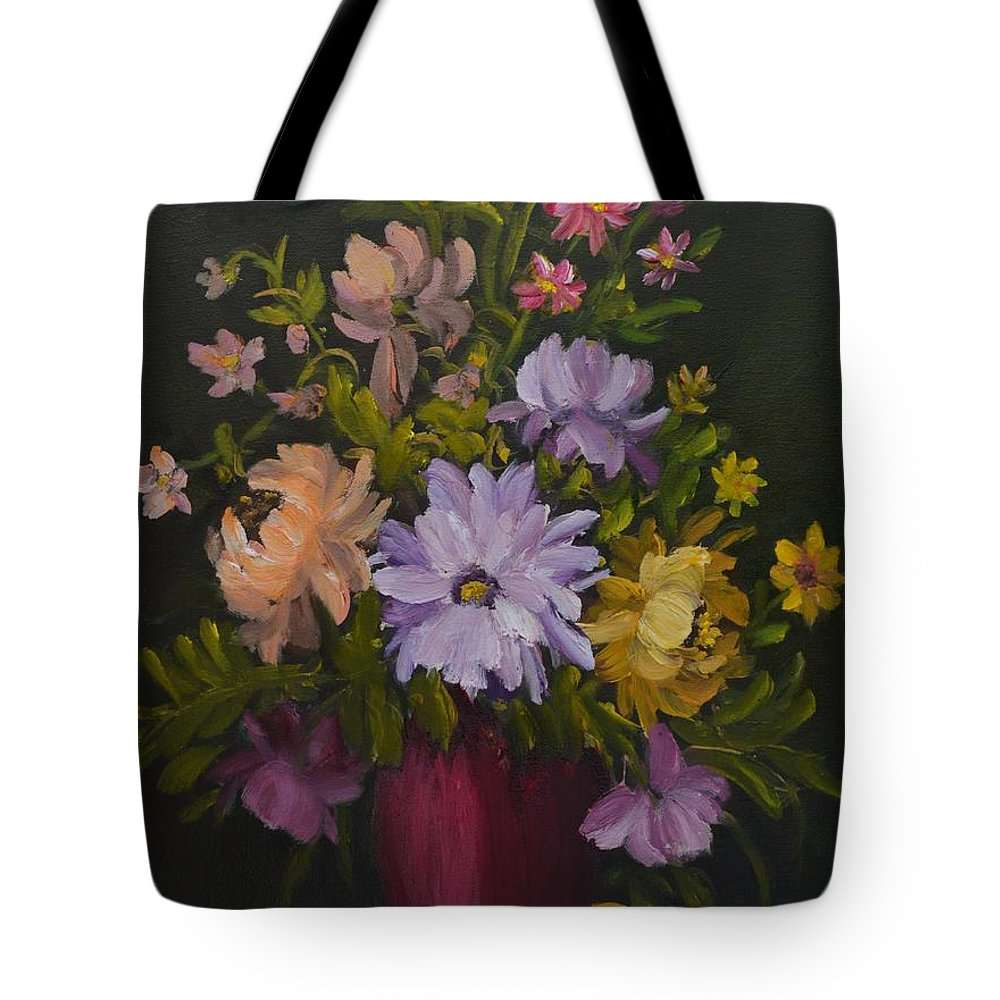 Red Vase Still Life Tote Bag featuring the painting Peonies In A Red Vase by Sally Jones