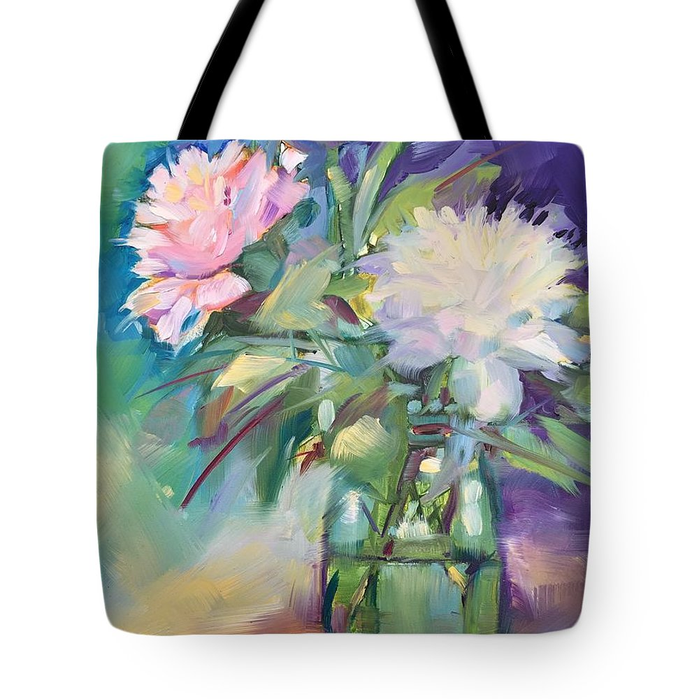 Peonies Tote Bag featuring the painting Peonies In Jar by Rebecca Matthews