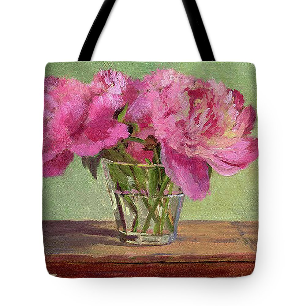 Still Tote Bag featuring the painting Peonies In Tumbler by Keith Burgess
