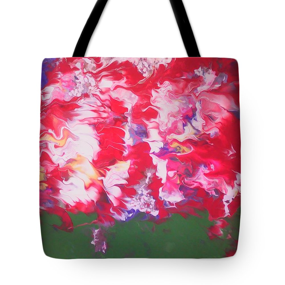 Abstract Art Tote Bag featuring the painting Peonies by Marcela Hessari