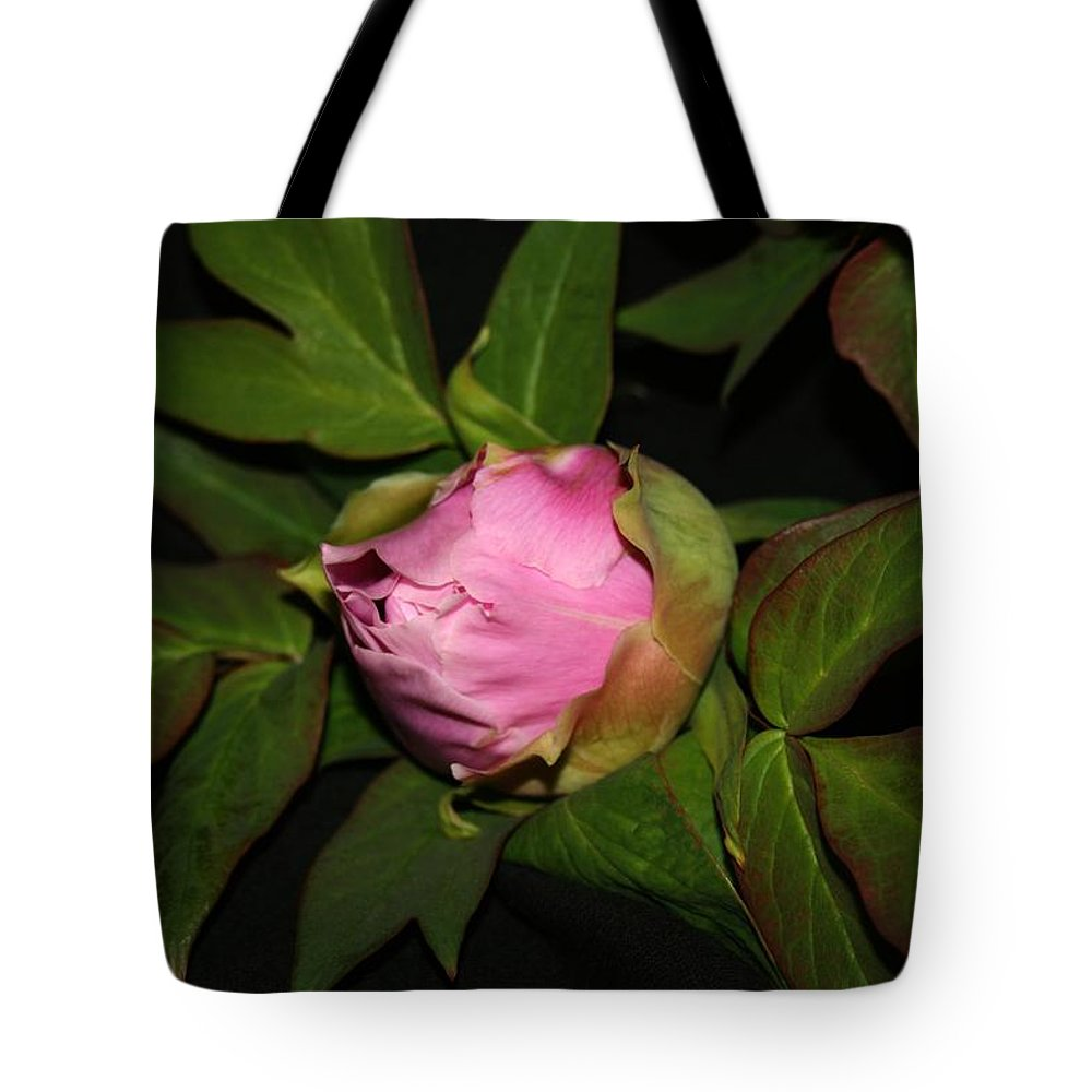 Flower Tote Bag featuring the pyrography Peony 1 by Robert Morin