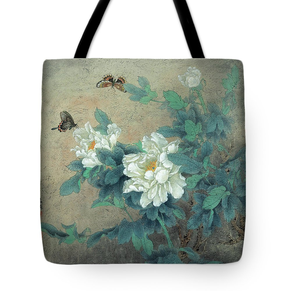Peony Butterfly Tote Bag featuring the painting Peony Butterfly by Dong Xiyuan