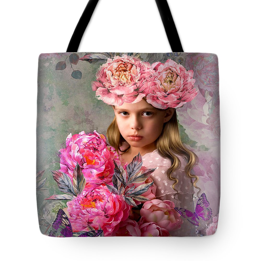Peony Tote Bag featuring the mixed media Peony Flower Child by G Berry