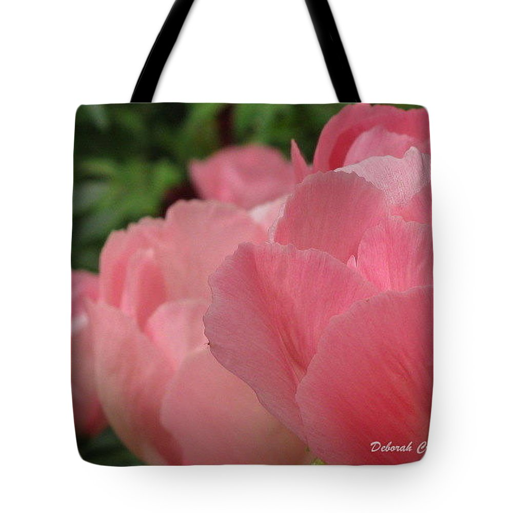 Flowers Tote Bag featuring the photograph Peony Lineup by Deborah Crew-Johnson