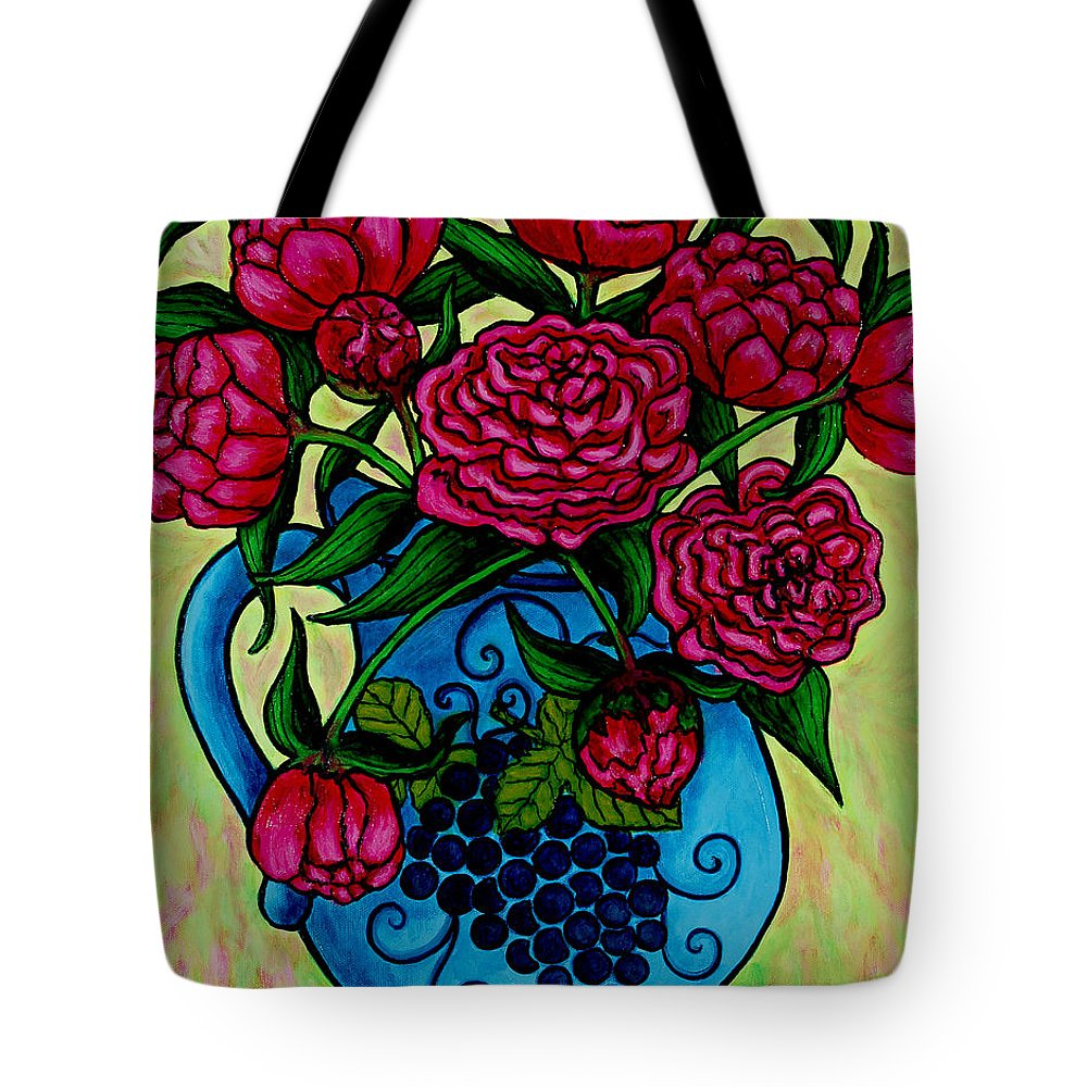 Peonies Tote Bag featuring the painting Peony Party by Lisa Lorenz