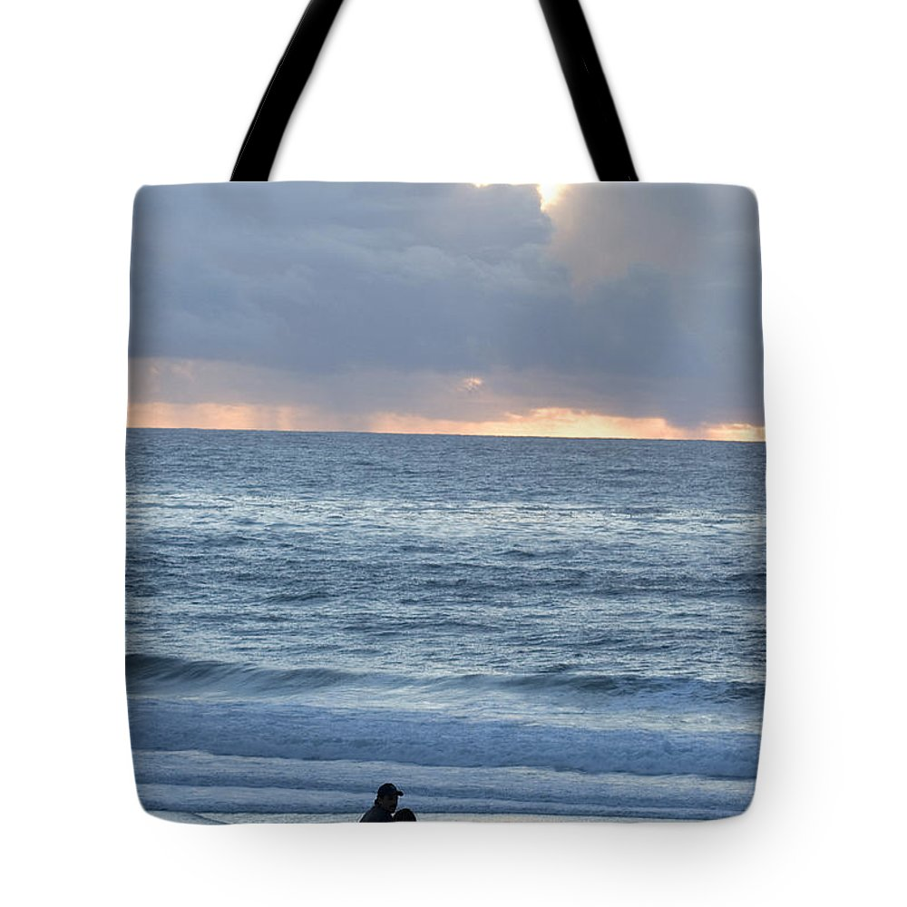 Beach Tote Bag featuring the photograph People Gather At Carmel Beach by Charles Kogod