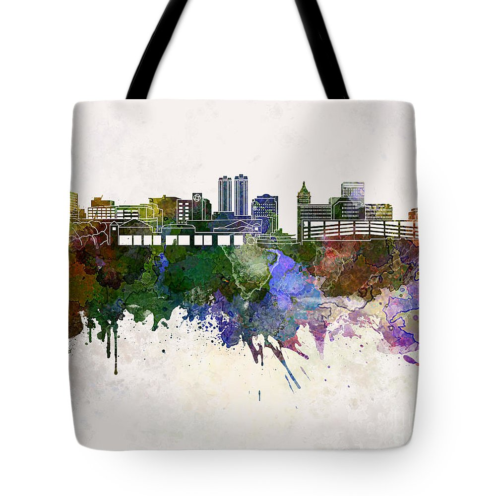 Peoria Skyline Tote Bag featuring the painting Peoria Skyline In Watercolor Background by Pablo Romero