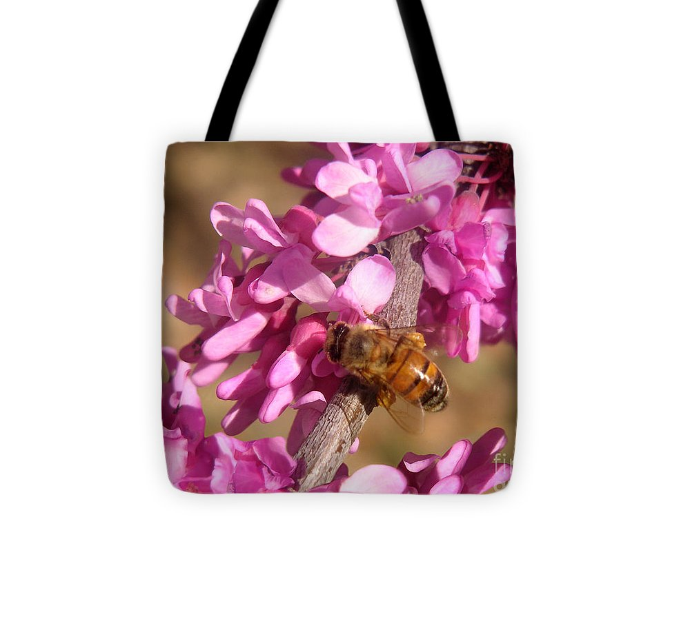 Nature Tote Bag featuring the photograph Peppermint Candy Buzz Stop by Lucyna A M Green
