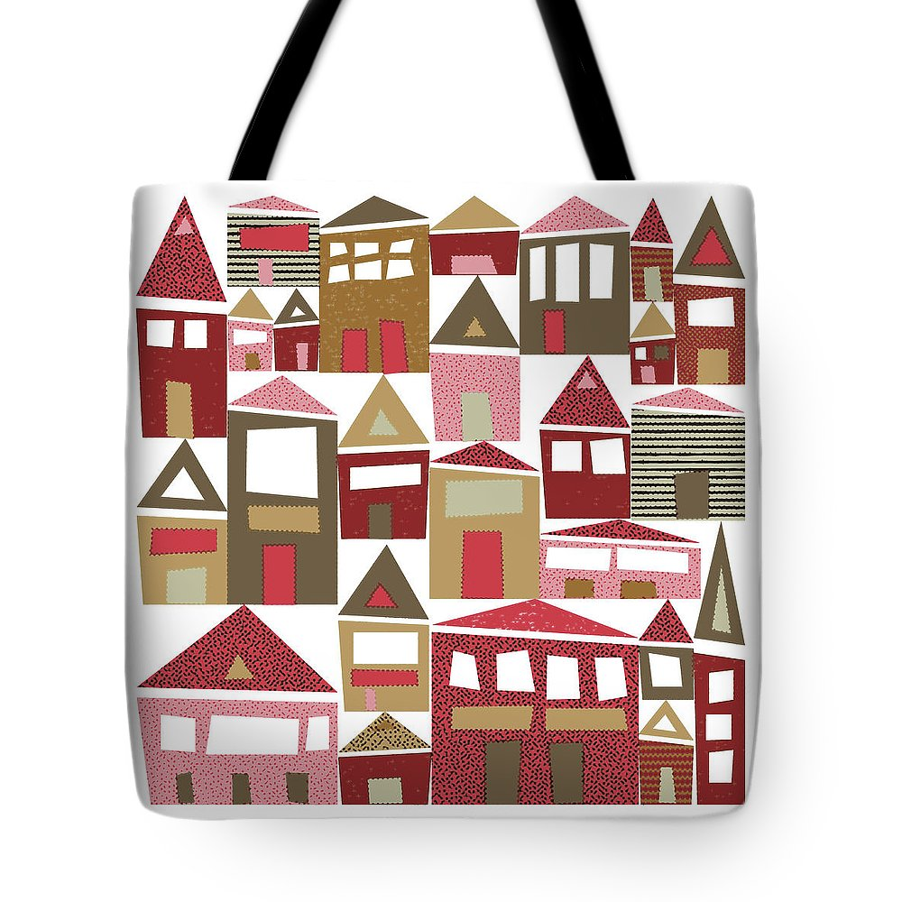 Village Tote Bag featuring the digital art Peppermint Village by Tonya Doughty